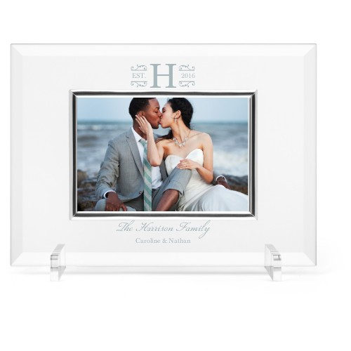 Elegant Wedding Glass Frame, 11x8 Engraved Glass Frame, - Photo insert, White