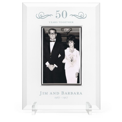 Years of Love Glass Frame, 8x11 Engraved Glass Frame, - Photo insert, White