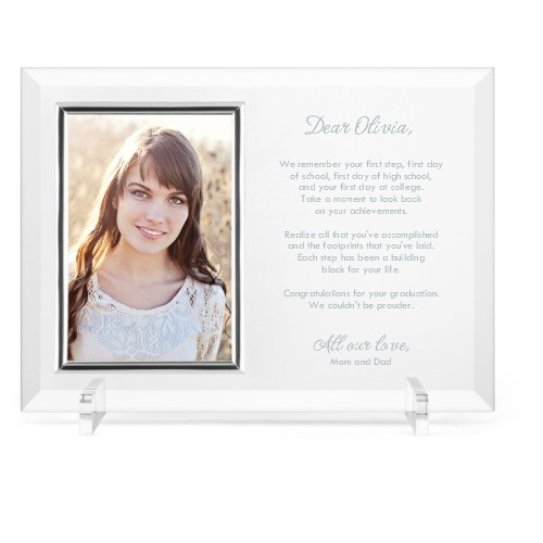 Mindful Note Glass Frame, 11x8 Engraved Glass Frame, - No photo insert, White