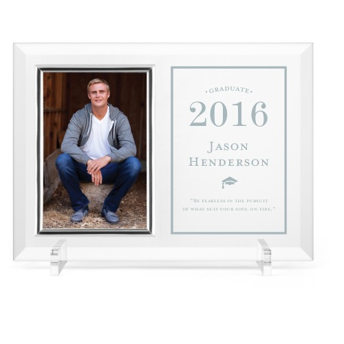 Cap and Tassel Glass Frame, 11x8 Engraved Glass Frame, - Photo insert, White