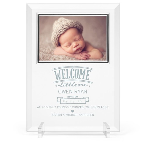 Welcome Little One Glass Frame, 8x11 Engraved Glass Frame, - Photo insert, White