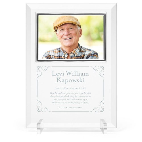 Forever In Our Hearts Glass Frame, 8x11 Engraved Glass Frame, - No photo insert, White
