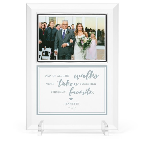 Down The Aisle Glass Frame, 8x11 Engraved Glass Frame, - No photo insert, White