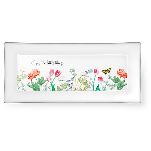 Spring Floral Catch All Tray, 3.75x7.5, White