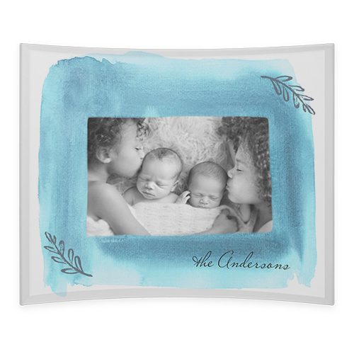 Watercolor Frame Curved Glass Print, 10 x 12 inches, Curved, Blue