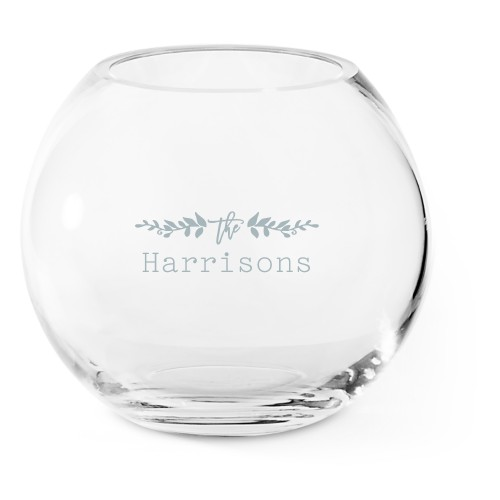 Floral Accent Glass Vase, Glass Vase (Round), Glass Vase Single Side, White