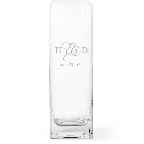Lovely and Locked Glass Vase, Glass Vase (Square), Glass Vase Double Sided, White