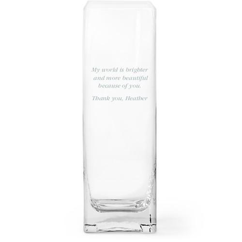 Many Thanks Glass Vase, Glass Vase (Square), Glass Vase Single Side, White