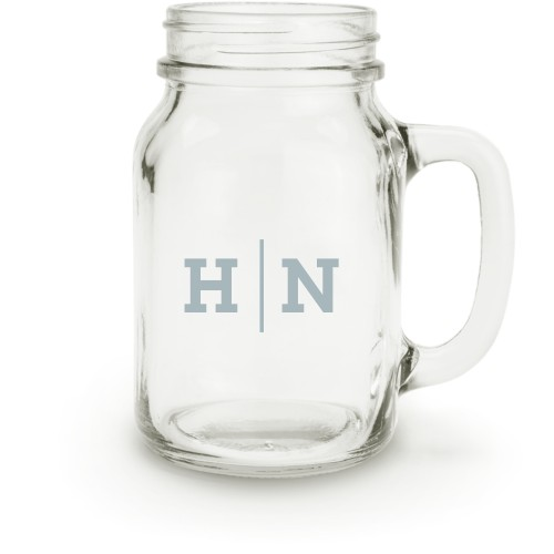 Monogram Line Mason Jar, White