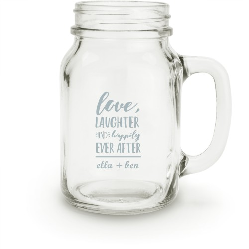 Happily Ever After Mason Jar, White