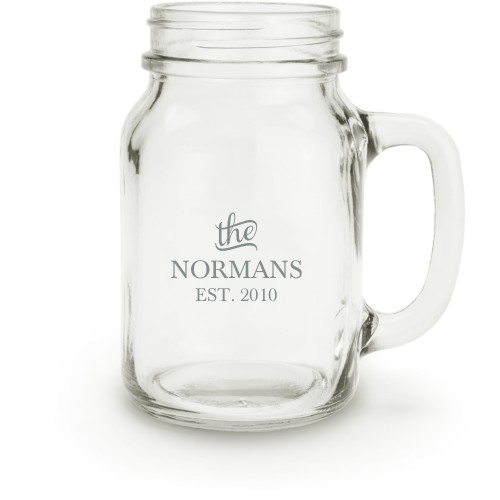 Stately Name Mason Jar, White