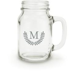 leaf monogram mason jar