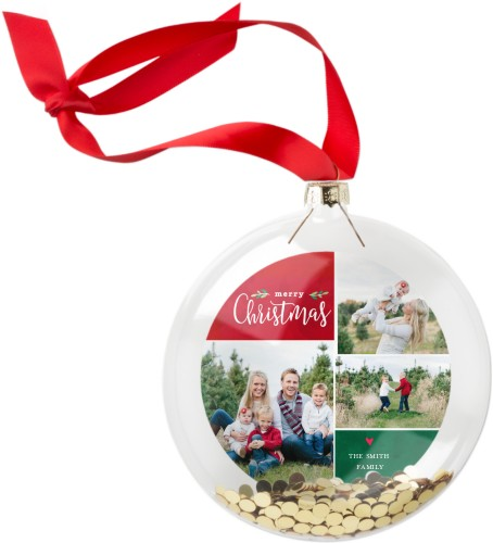 Classic Christmas Collage Glitter Ornament, Red, Circle