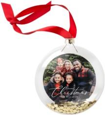 classic delicate christmas script glitter ornament