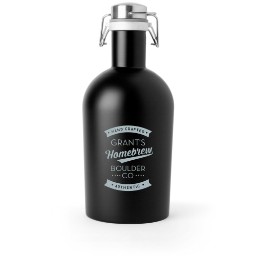 Homebrew Growler, Growler Double Side, Stainless Steel, Matte Black, White