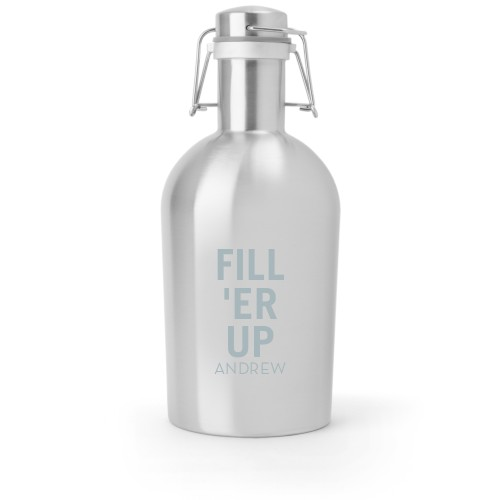 Fill Er Up Growler, Growler Double Side, Stainless Steel, Stainless Steel, White