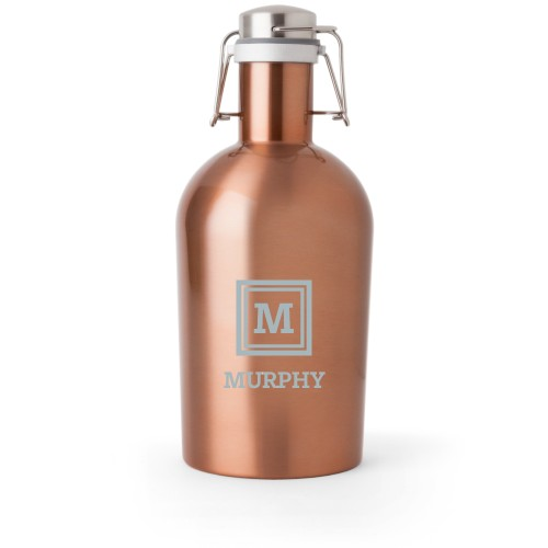 Keyline Monogram Growler, Growler Single Side, Stainless Steel, Copper, White