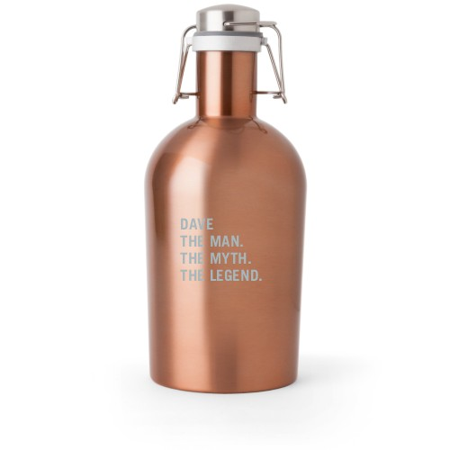 The Man Growler, Growler Single Side, Stainless Steel, Copper, White
