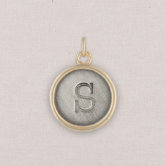 gold circle initial charm