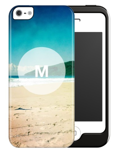 Frosted Glass Monogram iPhone Case, Silicone liner case, Glossy, iPhone 5/5S, White