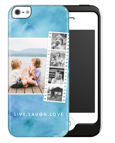 Watercolor Filmstrip Collage iPhone Case, Silicone liner case, Glossy, iPhone 5/5S, Blue