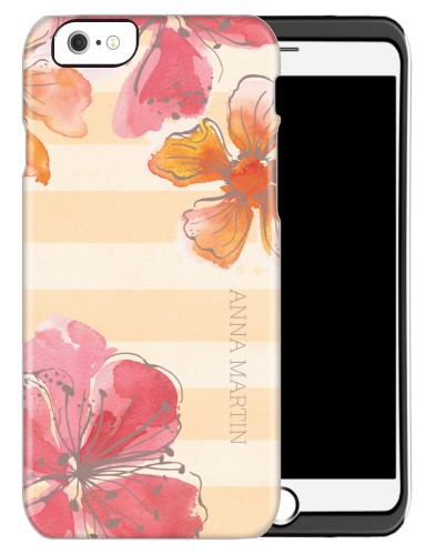 Floral Stripes iPhone Case, Silicone liner case, Glossy, iPhone 6, Beige
