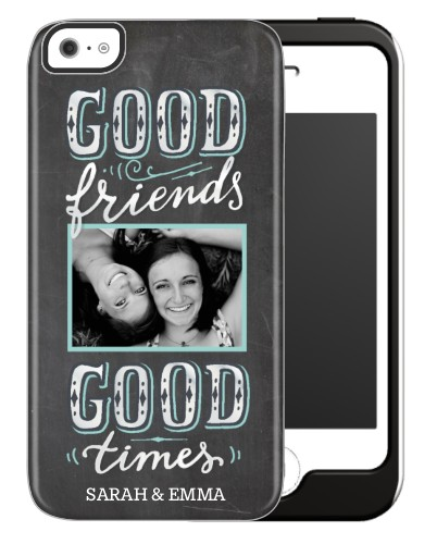 Chalkboard Friends iPhone Case, Silicone liner case, Glossy, iPhone 5C, Grey