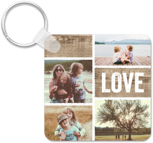 Textured Collage Key Ring, Square, White