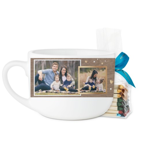 Family Overlap Collage Latte Mug, White, with Ghirardelli Assorted Squares, 25oz, Brown