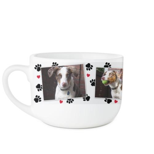 Paw Prints Latte Mug, White,  , 25oz, White
