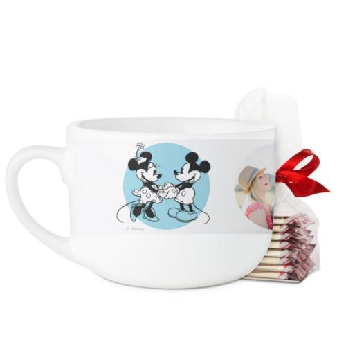 Disney Love in Circle Latte Mug, White, with Ghirardelli Peppermint Bark, 25oz, Blue