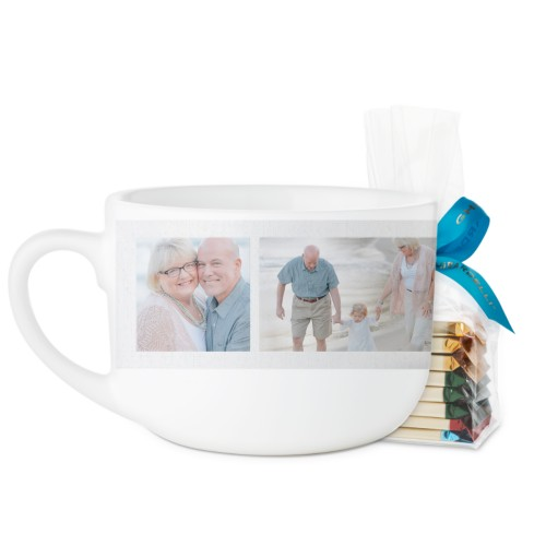 Grandma's Happiness Latte Mug, White, with Ghirardelli Assorted Squares, 25oz, Pink