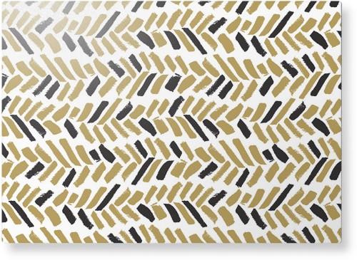 Herringbone Brushstroke Metal Wall Art, Single piece, 10 x 14 inches, True Color / Glossy, ...