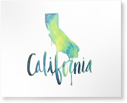 Watercolor California Metal Wall Art, Single piece, 16 x 20 inches, True Color / Matte, Multicolor