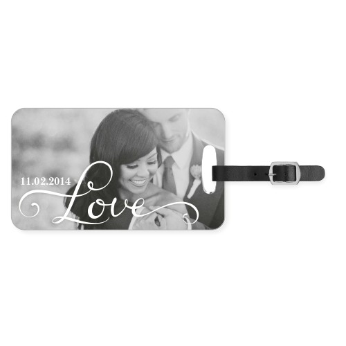 Hand-Lettered Love Luggage Tag, Large, White