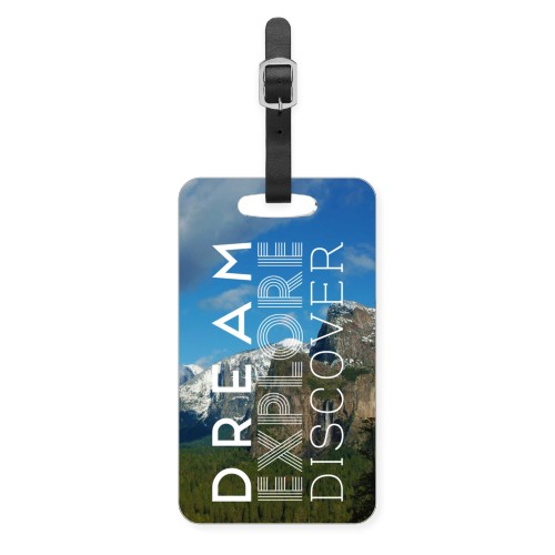 Dream Explore Discover Luggage Tag, Large, White