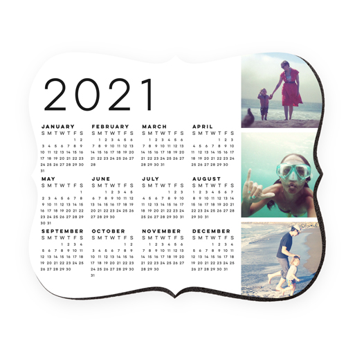 Gallery Calendar Mouse Pad, Bracket, White
