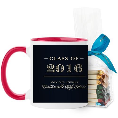 Graduation Masculine Mug, Red, with Ghirardelli Assorted Squares, 11 oz, Black