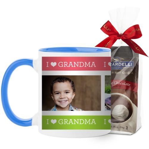 I Heart Grandma Mug, Light Blue, with Ghirardelli Premium Hot Cocoa, 11 oz, Pink