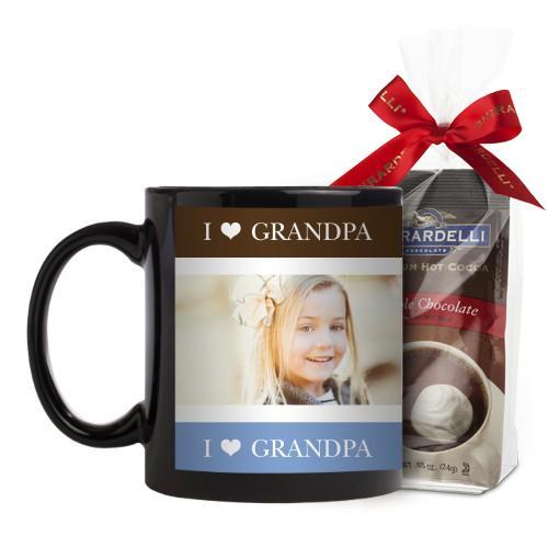 I Heart Grandpa Mug, Black, with Ghirardelli Premium Hot Cocoa, 11 oz, Brown