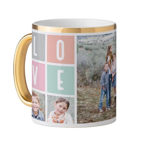 Love Mug, Gold Handle,  , 11 oz, Pink