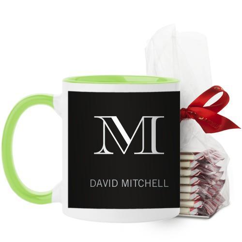 Monogram Black Mug, Green, with Ghirardelli Peppermint Bark, 11 oz, Black