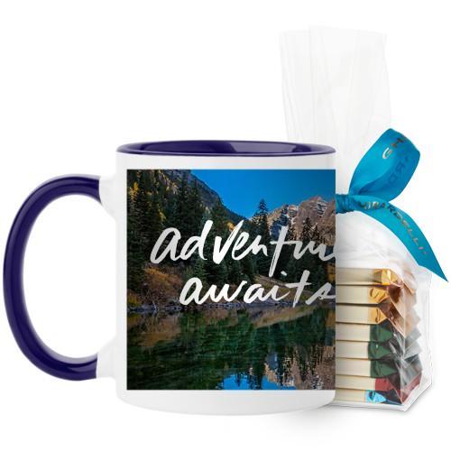 Adventure Awaits Mug, Blue, with Ghirardelli Assorted Squares, 11 oz, White
