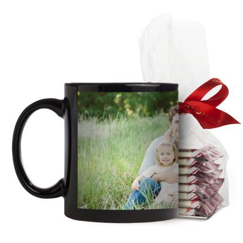 Photo Gallery Mug, Black, with Ghirardelli Peppermint Bark, 11 oz, Multicolor