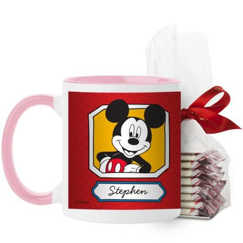 Disney Mickey And Friends Mug, Pink, with Ghirardelli Peppermint Bark, 11 oz, Red