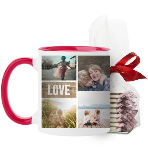 Textured Frames Mug, Red, with Ghirardelli Peppermint Bark, 11oz, Brown