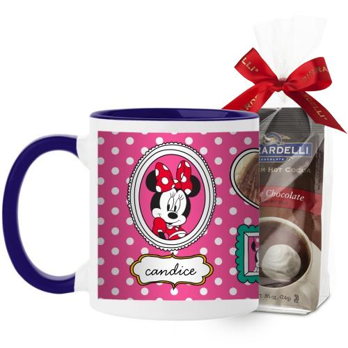 Disney Minnie And Friends Mug, Blue, with Ghirardelli Premium Hot Cocoa, 11 oz, Pink