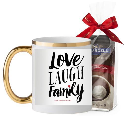 Love Laugh Family Mug, Gold Handle, with Ghirardelli Premium Hot Cocoa, 11oz, Grey
