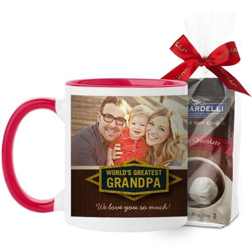 Classic Grandpa Mug, Red, with Ghirardelli Premium Hot Cocoa, 11oz, Brown