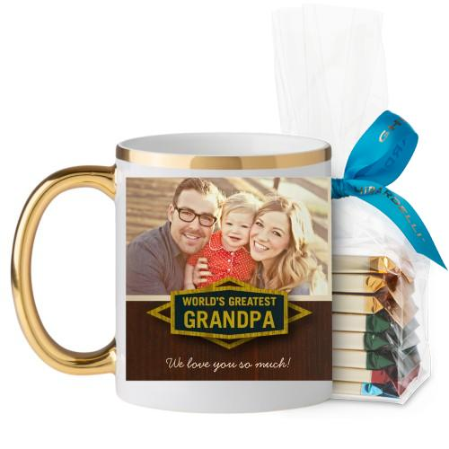Classic Grandpa Mug, Gold Handle, with Ghirardelli Assorted Squares, 11 oz, Brown